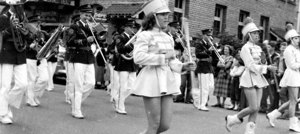 Marching Band Walking in Laurel Christmas Parade